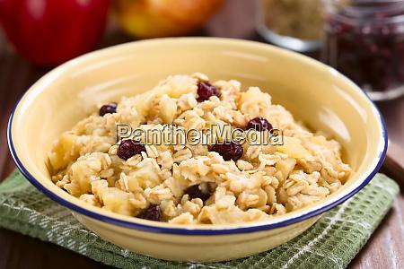 vegan apple oatmeal and cranberry porridge