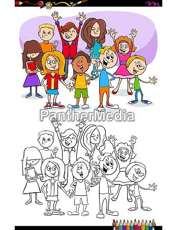 kids and teens characters group coloring