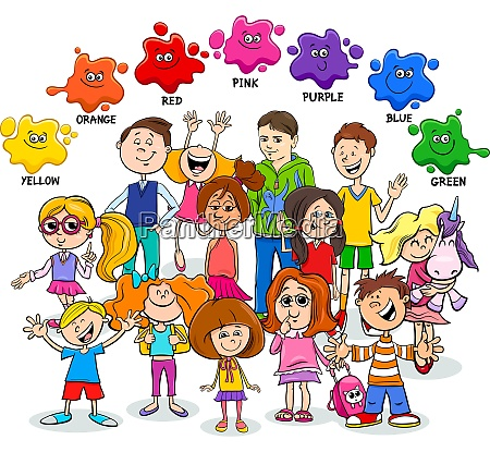 basic colors educational worksheet with children