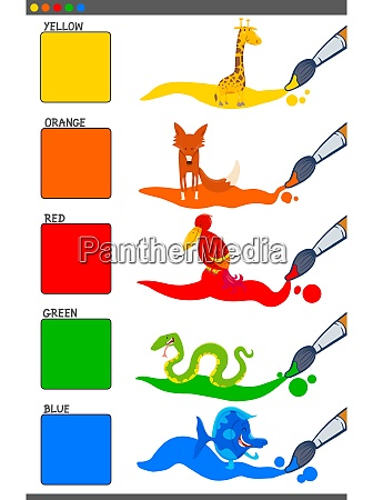 basic colors set with cartoon animals