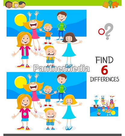 finding differences game with cute children