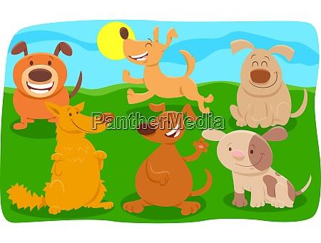 glueckliche hunde cartoon figuren gruppe