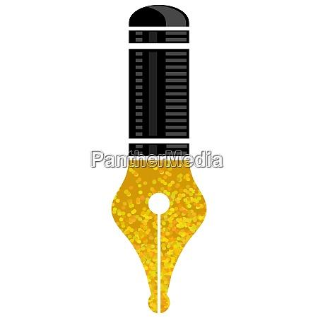 gold nib icon isolated on white