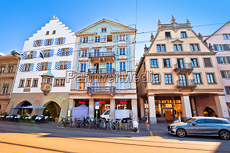 colorful street of zurich swiss architecture