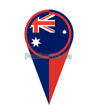 australia map pointer location flag