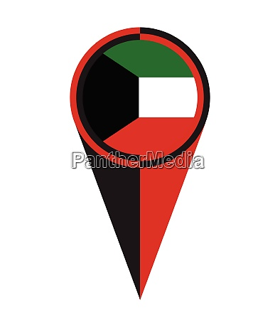 kuwait karte zeiger lage flagge
