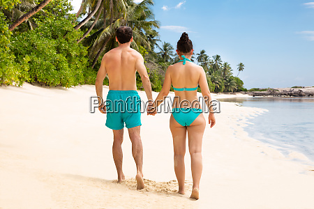 rear view of a young couple