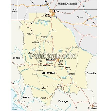strassenkarte des mexikanischen bundesstaates chihuahua