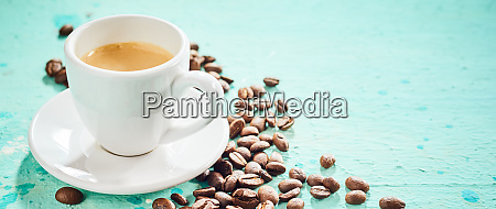 cup of hot aromatic espresso coffee