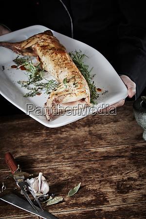 venison roast of wild rabbit on