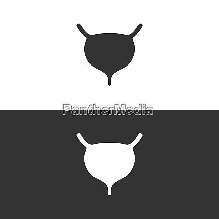 menschliches organ blasensymbol auf schwarzem und