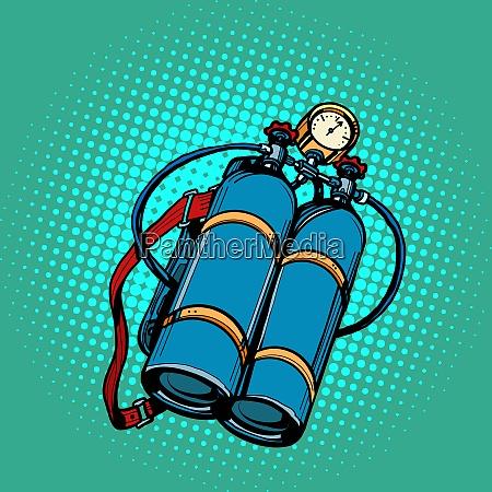 sauerstofftank fuer taucher unterwasserschwimmen