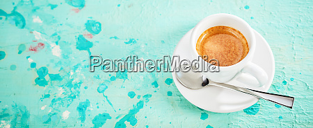 panorama banner with cup of strong