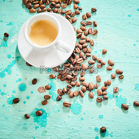 fresh cool blue background with espresso