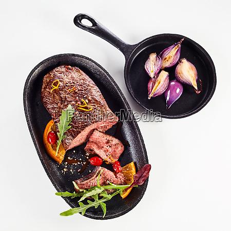 tender medium rare roasted venison fillet