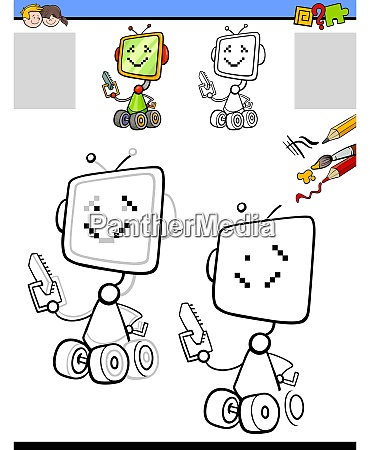 drawing and coloring worksheet with cartoon