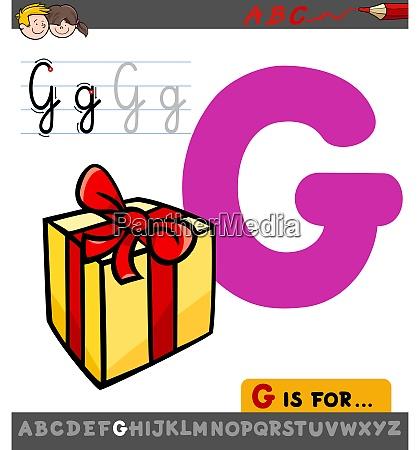 buchstabe g arbeitsblatt mit cartoon geschenk