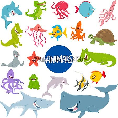 cartoon marine tier figuren set