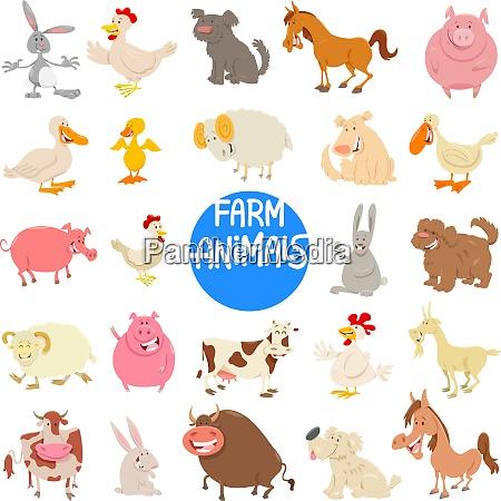 cartoon farm animal characters large set