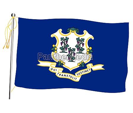 connecticut state weht flagge und fahnenmast