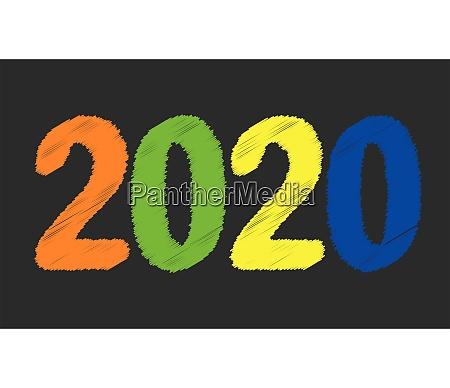 schwarz 2020 tafel neujahr