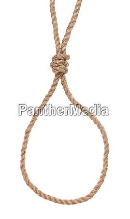 schlupfschlinge mit galgenknoten am juteseil gebunden