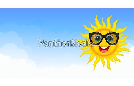 joyful sun in the blue sky