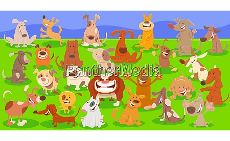 dogs cartoon characters huge group