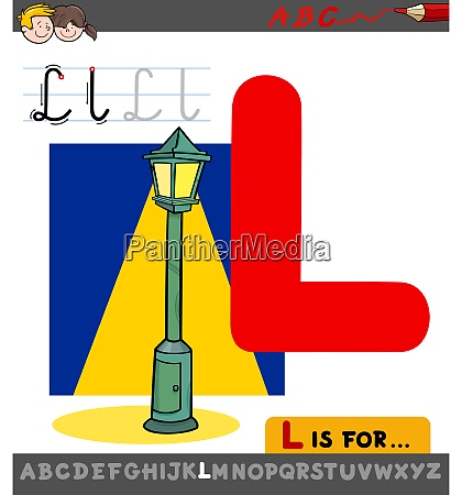 letter l worksheet with cartoon lamp