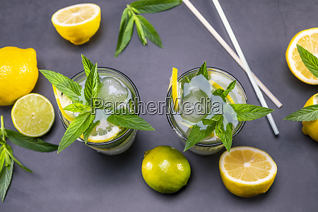 top view of fresh lemonade with