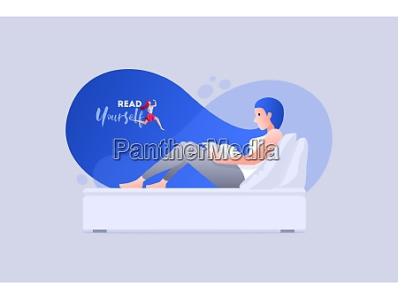 vector illustration young woman is reading