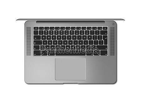 dunkelsilber offene laptop top ansicht 3d