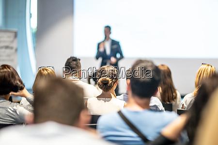 male business speaker giving a talk