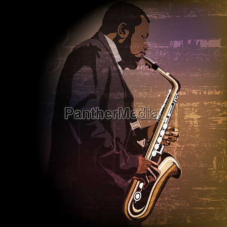 abstract music illustration with saxophone player
