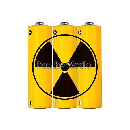 yellow alkaline aa batteries with radioactive