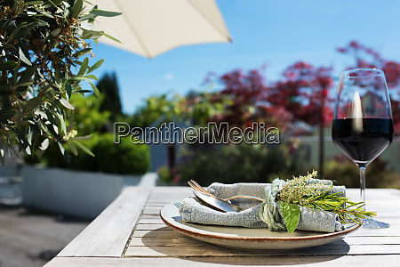mediterranean lifestyle on a sun terrace