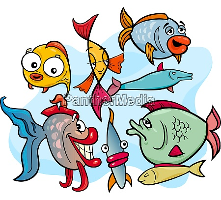 fisch tier zeichentrickfiguren gruppe