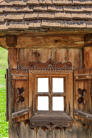 old window at a hut