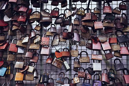 love lock padlocks on fence reeperbahn