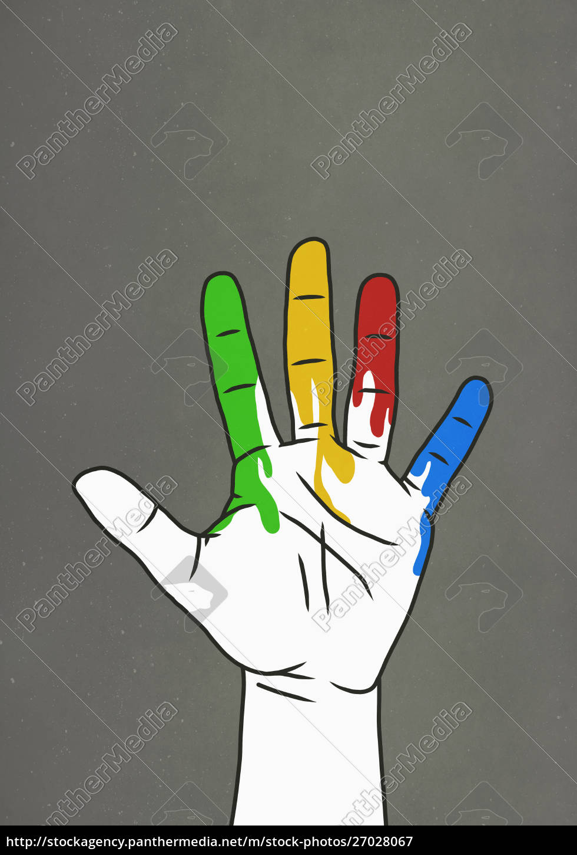 raised, hand, dripping, rainbow, paint - 27028067