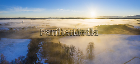germany bavaria gelting sunrise over winter