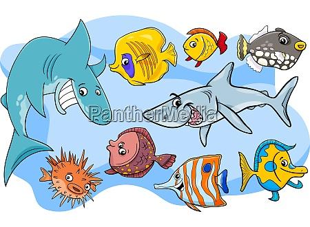 fisch marine tier zeichentrickfiguren gruppe