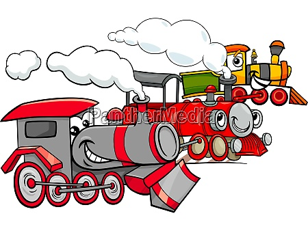 steam engine cartoon characters group