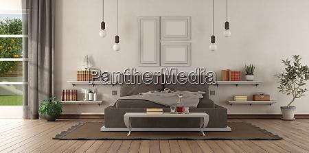 modernes hauptschlafzimmer mit braunem schlafzimmer