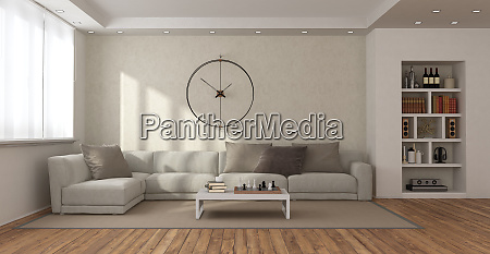 modernes wohnzimmer mit sofa und buecherregal