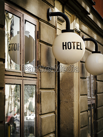 hotel sign and entrance