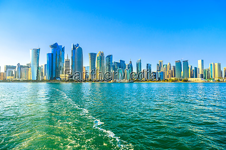 cityscape of doha west bay skyline