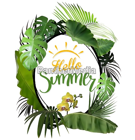 hello summer with oval frame and