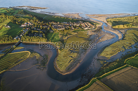 aerial view of the meandering estuary