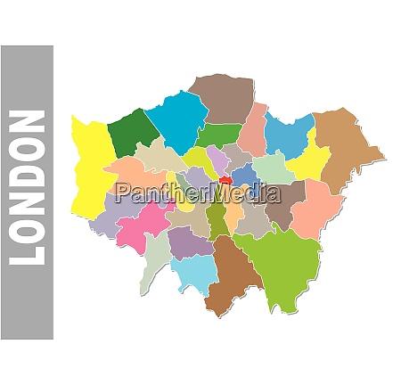bunte londoner verwaltungs und politische landkarte